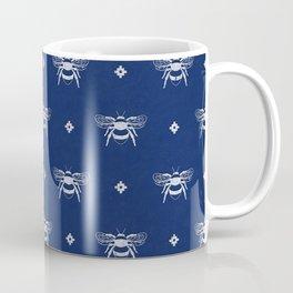 Bee Stamped Motif on Navy Blue Coffee Mug