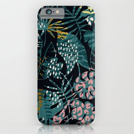 Jungle Leaf Gilded Abstract Pattern In Pinks & Teals iPhone Case