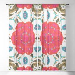 poppies & earth Sheer Curtain