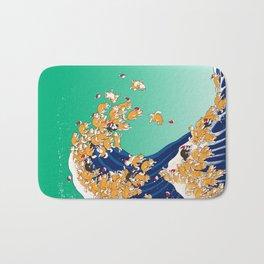 Christmas Shiba Inu The Great Wave Bath Mat