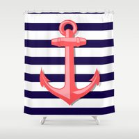 anchor Shower Curtains featuring Anchor by Britt Mansouri