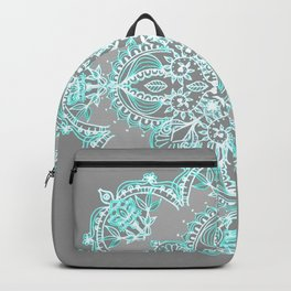 Teal and Aqua Lace Mandala on Grey Backpack