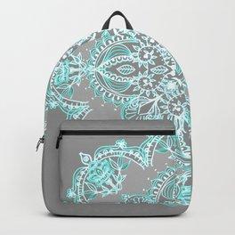 Teal and Aqua Lace Mandala on Grey Backpack
