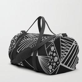 Modern geometrical black faux silver blush chic pattern Duffle Bag
