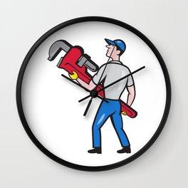 Plumber Carry Monkey Wrench Walking Cartoon Wall Clock