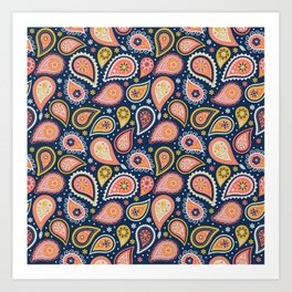 Limited color paisleys Art Print
