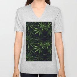 Weed leafs - Cannabis field Unisex V-Neck