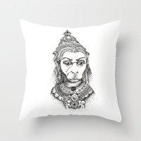hindu Throw Pillows featuring Hindu Deity (Hanuman) by The Artful Yogini
