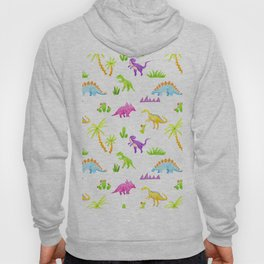 Tropical pattern with dinosaur and cacti, palm trees Hoody