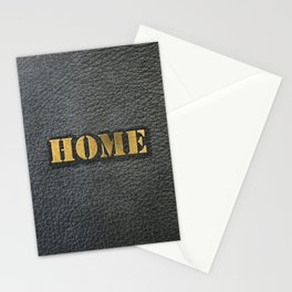 HOME black leather gold letters Stationery Cards