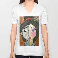 mulan V-neck T-shirts featuring Mulan by Jgarciat