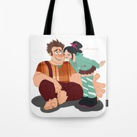 wreck it ralph Tote Bags featuring Ralph & Vanellope by Violet's Corner
