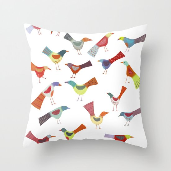 Birds doing bird things Throw Pillow