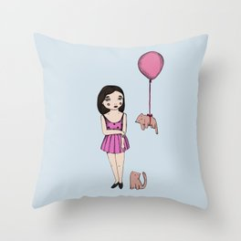 The cat balloon Throw Pillow