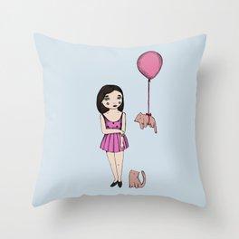 The cat balloon Throw Pillow