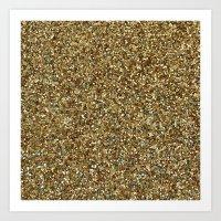gold glitter Art Prints featuring Gold Glitter by Katieb1013