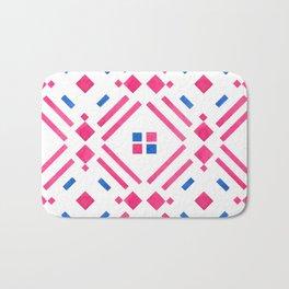 Modern hand painted geometrical pink blue watercolor Bath Mat