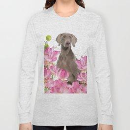 Weimaraner Lotos Flowers Long Sleeve T-shirt