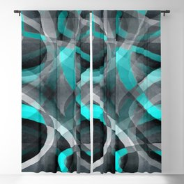 Eighties Turquoise and Grey Arched Line Pattern Blackout Curtain