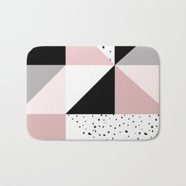 Geometrical pink black gray watercolor polka dots color block Bath Mat