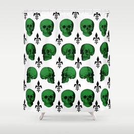 Green Skulls Shower Curtain