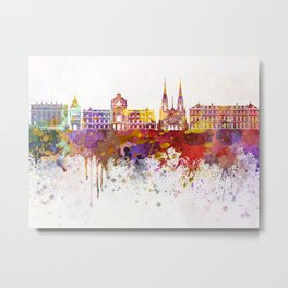 Strasbourg skyline in watercolor background Metal Print