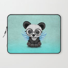 Cute Panda Cub with Fairy Wings and Glasses Blue Laptop Sleeve