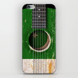 Old Vintage Acoustic Guitar with Pakistani Flag iPhone Skin