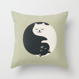 Hidden cat 26 yin yang hug Throw Pillow
