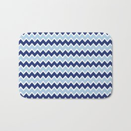 Navy Blue and Light Blue Chevron Bath Mat