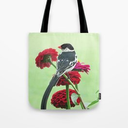 Whydah loving Zinnia flowers Tote Bag