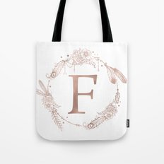 Letter F Rose Gold Pink Initial Monogram Tote Bag