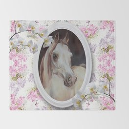 White orchids & Arabian mare Throw Blanket