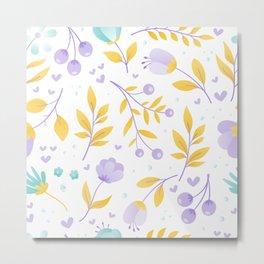 teal and purple flowers Metal Print