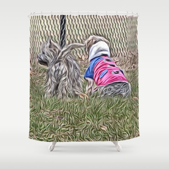 Waiting with a friend for a fence run Shower Curtain