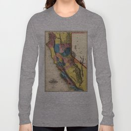 Vintage Map of Gold Regions in California (1851) Long Sleeve T-shirt