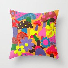 Summer Shrooms in Orange Saffron Throw Pillow