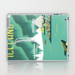 Vintage Mid Century Modern Iceland Scandinavian Travel Poster Ocean Whale Winter Village Laptop & iPad Skin