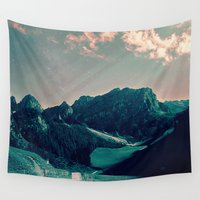 skiing Wall Tapestries featuring Mountain Call by Schwebewesen • Romina Lutz