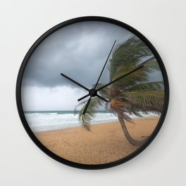 Windswept Palm tree Wall Clock