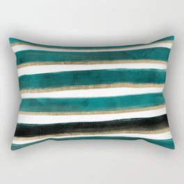 Modern hand painted emerald turquoise watercolor stripes gold geometric pattern Rectangular Pillow
