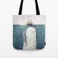 red Tote Bags featuring The Whale - vintage  by Terry Fan