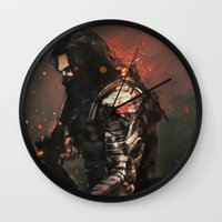 alicexz Wall Clocks featuring Blood in the Breeze by Alice X. Zhang