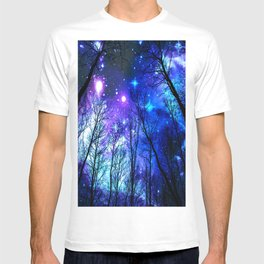 black trees purple blue space T-shirt