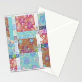 Lotus flower turquoise and apricot stitched patchwork - woodblock print style pattern Stationery Cards
