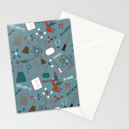 Blue Science and Math Icons Stationery Cards
