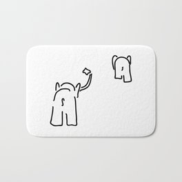 pair of elephants say goodbye Bath Mat