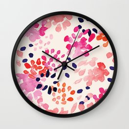 Flower abstract, watercolor floral pattern Wall Clock