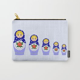 Blue russian matryoshka nesting dolls Carry-All Pouch