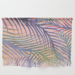 Palm Leaves Pattern - Purple, Peach, Blue Wall Hanging